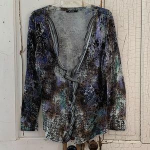 Nic + Zoe ruffled cardigan Size XL